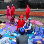 "Pam Kravetz and colorful friends"" Diner en Coleur en Plein Air"" on top of the Aronoff Center for the Arts - Photo by Melissa Soluski"